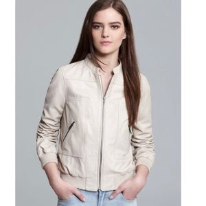 Joie Danica B Neutral Leather Spring Bomber Jacket
